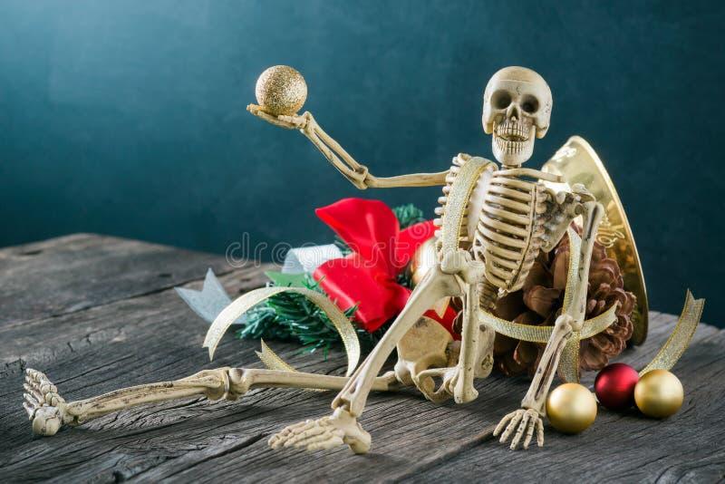 Skeleton with christmas decoration royalty free stock photo