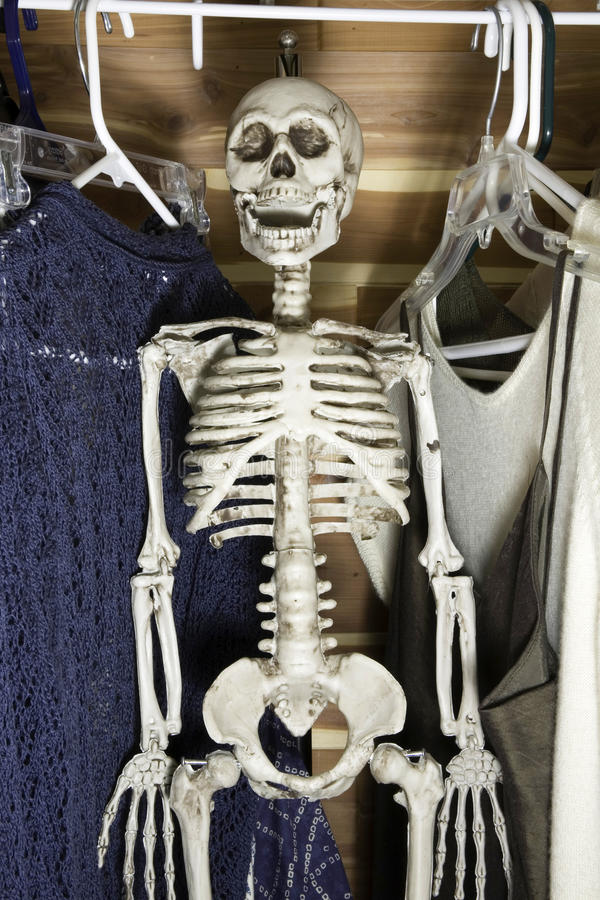 Skeleton in the Closet. Human skeleton hanging in a clothes closet royalty free stock photos