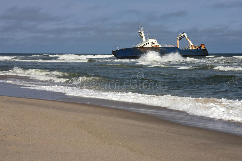 Skeleton Coast in Namibia. Shipwreck on the Skeleton Coast in Namibia stock photography