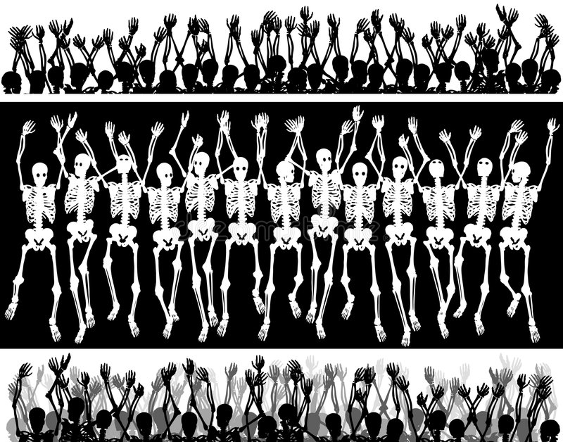 Download Skeleton crowd stock vector. Illustration of design, waving - 7985132