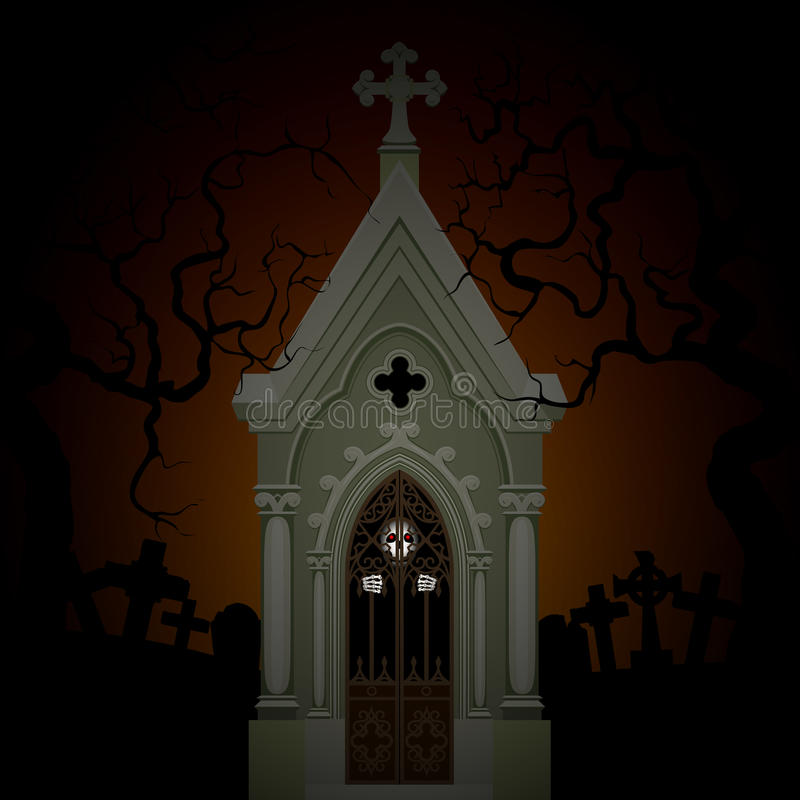 Skeleton in crypt. Halloween poster with skeleton in crypt at night vector illustration