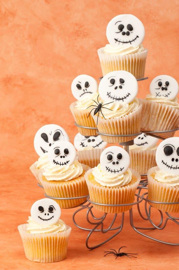 Skeleton Face Cupcakes stock photos