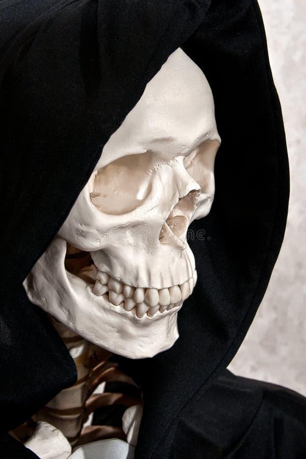 Skeleton face in hood