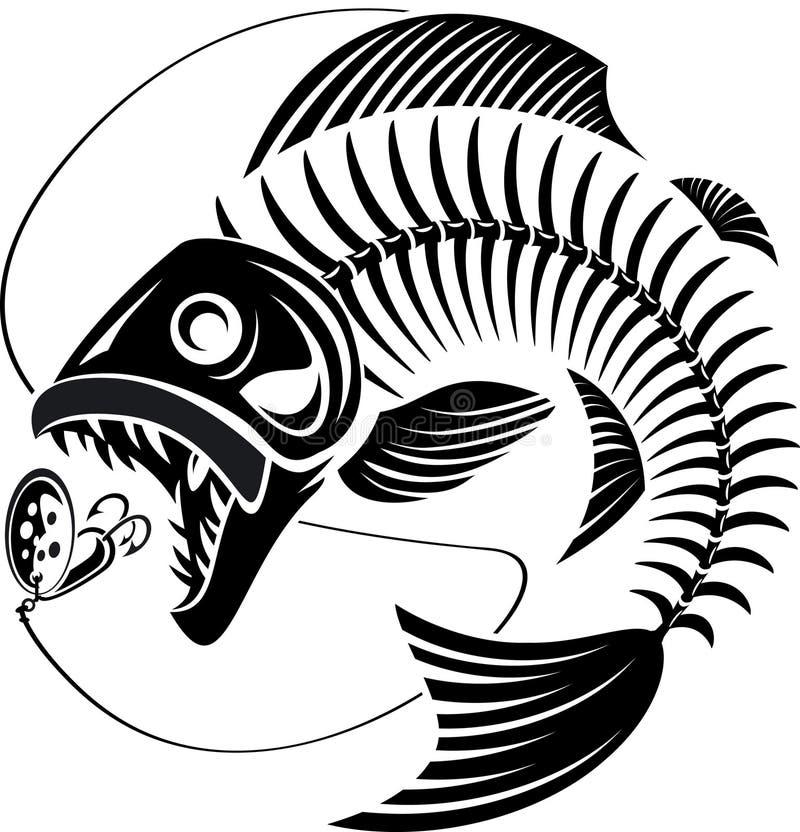 Free Skeleton Fish Taking Fishing Lure Stock Image - 163839301