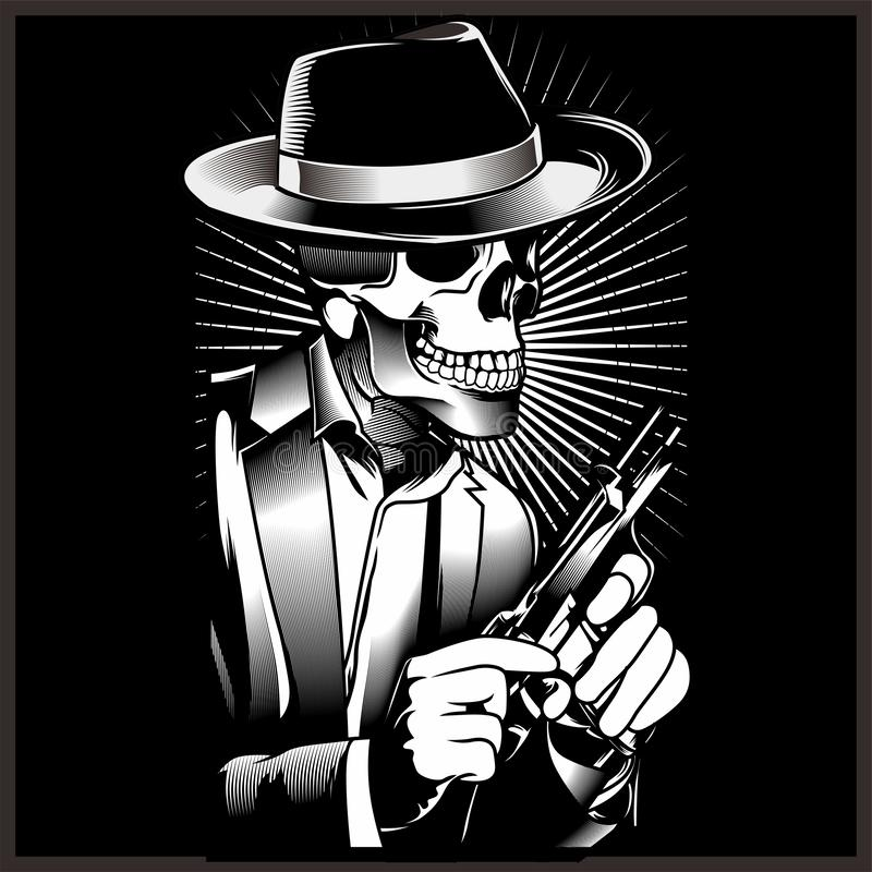 Free Skeleton Gangster With Revolvers In Suit. Vector Illustration Stock Photo - 149037910