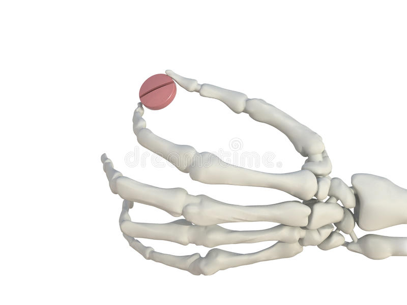 Skeleton Hand mit Pille lizenzfreie abbildung