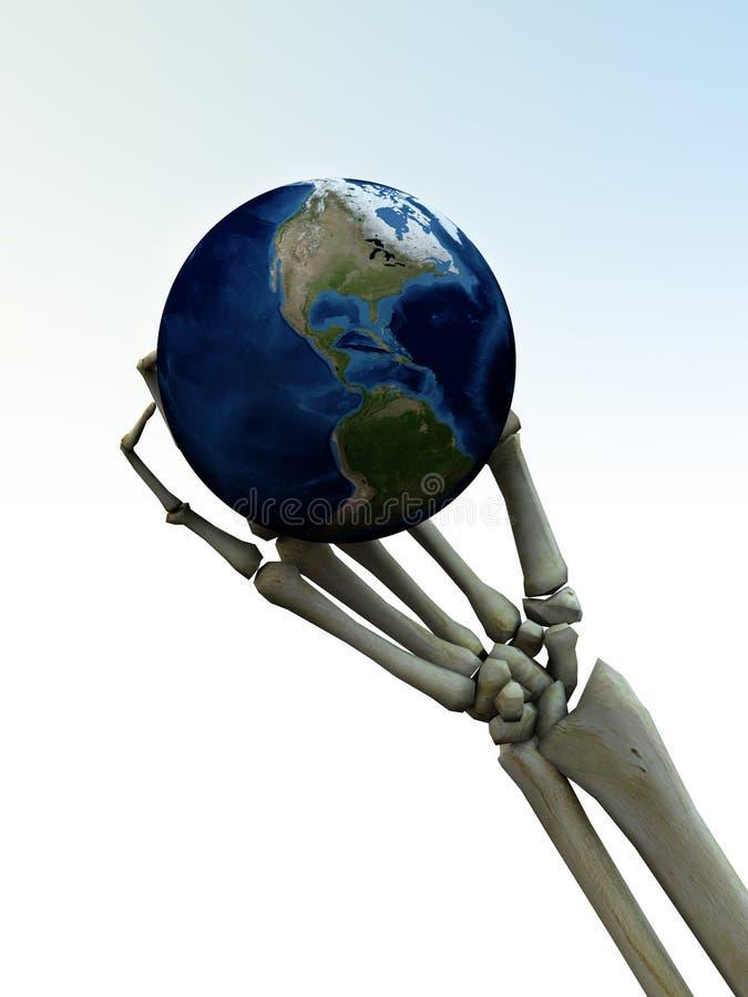 Skeleton Hand und die Erde 2 lizenzfreie abbildung