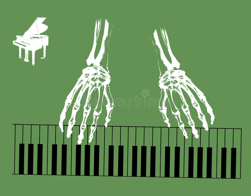 Skeleton hands. Abstract green background with white skeleton hands playing piano vector illustration
