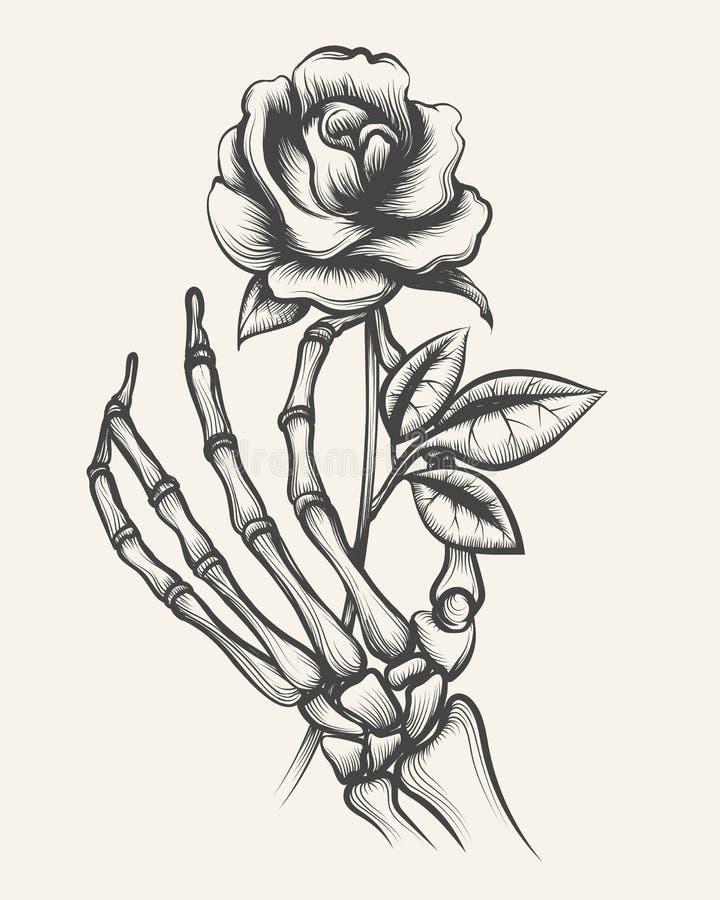 Hand Drawings Roses And Skulls