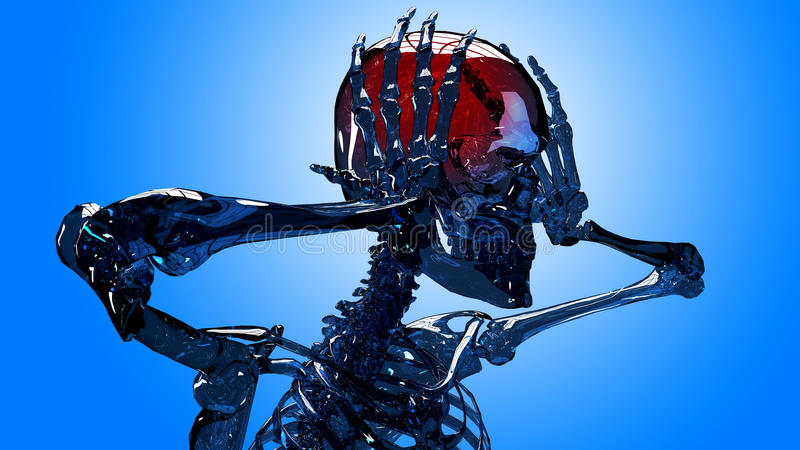 Skeleton Hauptschmerz stockfotos