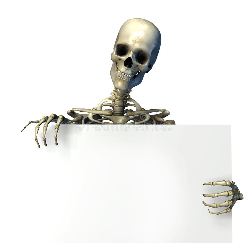 Skeleton Holding Edge of Blank Sign - includes clipping path royalty free illustration