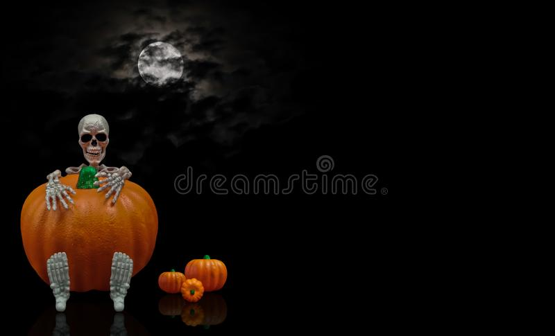 Skeleton Holding Pumpkin stock photos