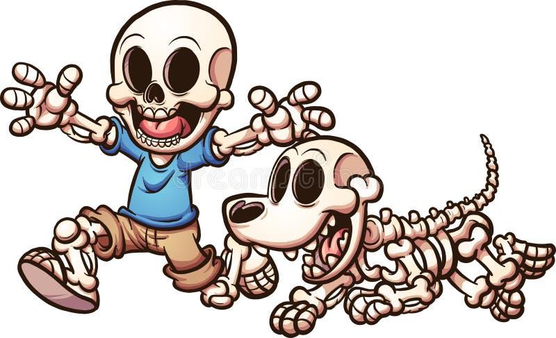 Skeleton Junge und Hund lizenzfreie abbildung