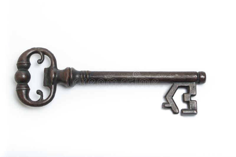 Skeleton key with house symbol. Isolated on a white background stock image