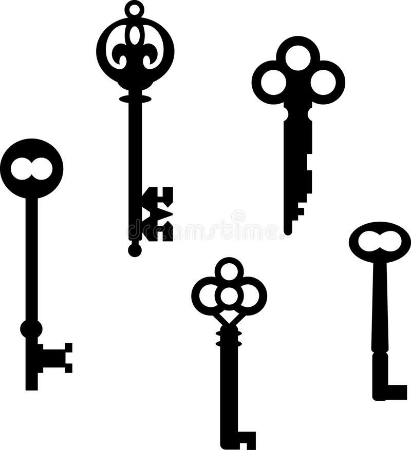 skeleton keys set stock vector illustration of latch 10743836 rh dreamstime com heart skeleton key vector skeleton key vector