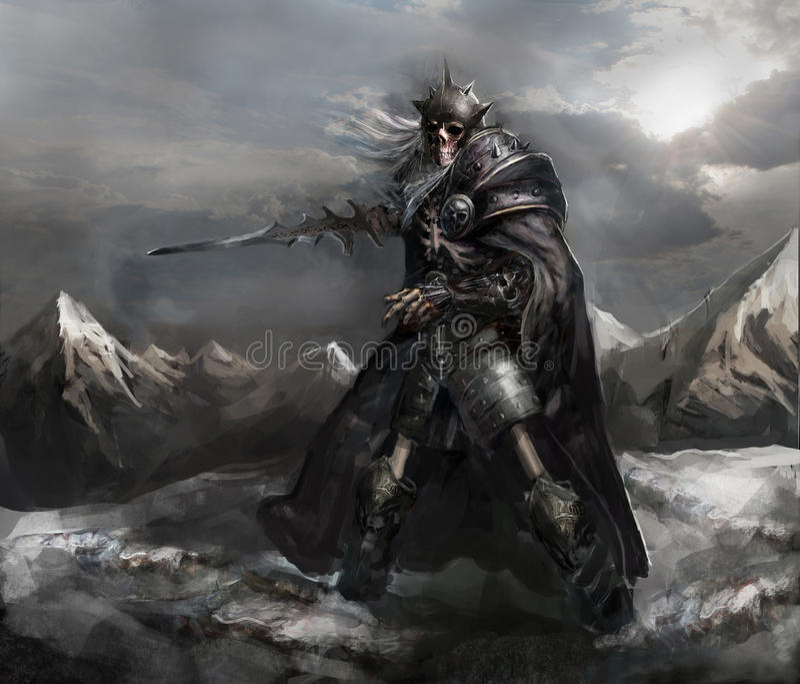 Skeleton knight vector illustration