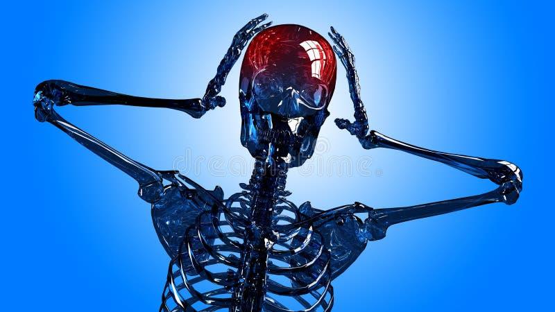Skeleton Kopfschmerzen stockfoto