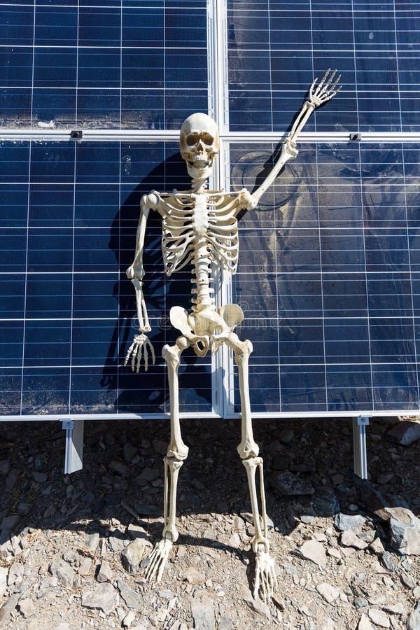 Skeleton leaning on solar panels in the desert. Nevada, bony, hands, tan, white, bone, frame, human, anatomical, halloween, science, skull, figure, power stock photography