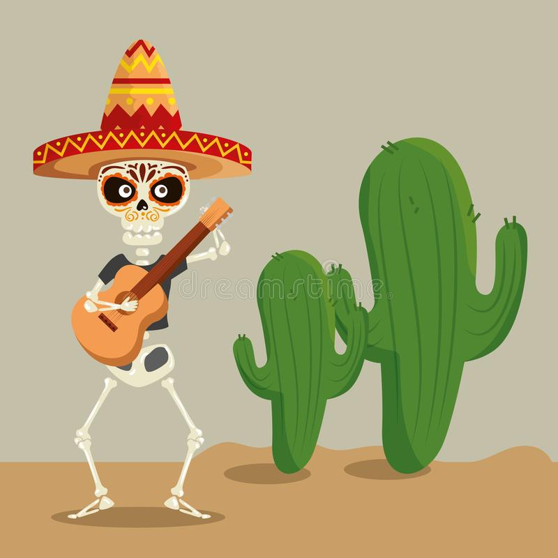 Skeleton man wearing hat with guitar to celebrate event royalty free illustration