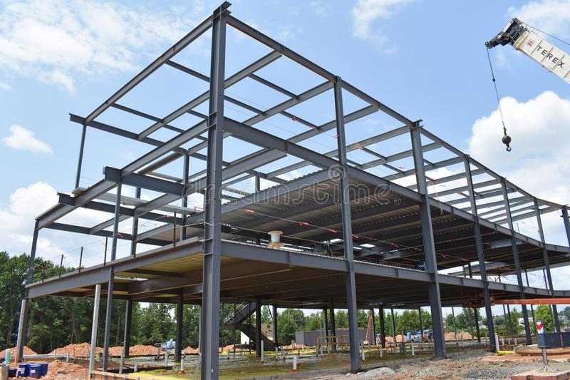 Skeleton of metal building under construction royalty free stock photos