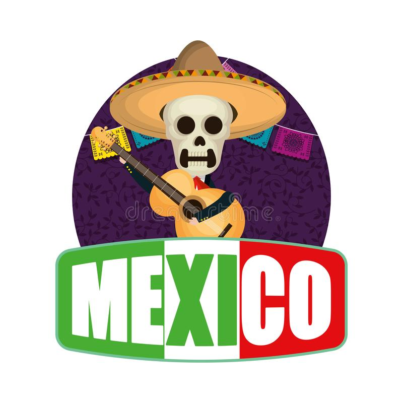 Skeleton mexican with hat. Vector illustration design royalty free illustration
