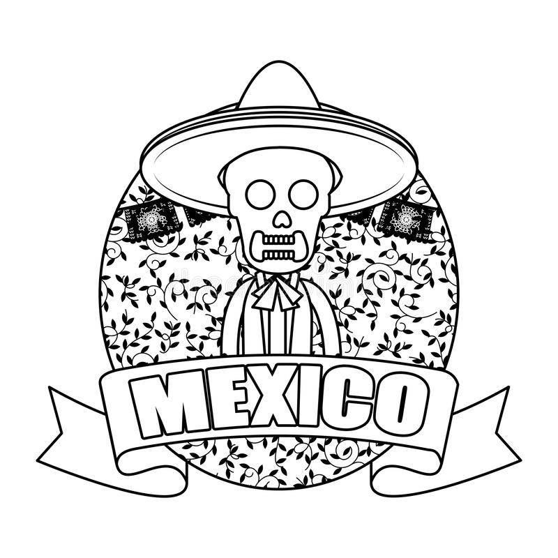 Skeleton mexican with hat. Vector illustration design stock illustration