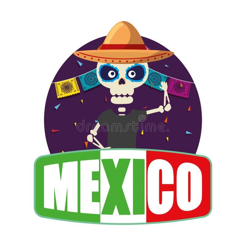 Skeleton mexican with hat. Vector illustration design vector illustration