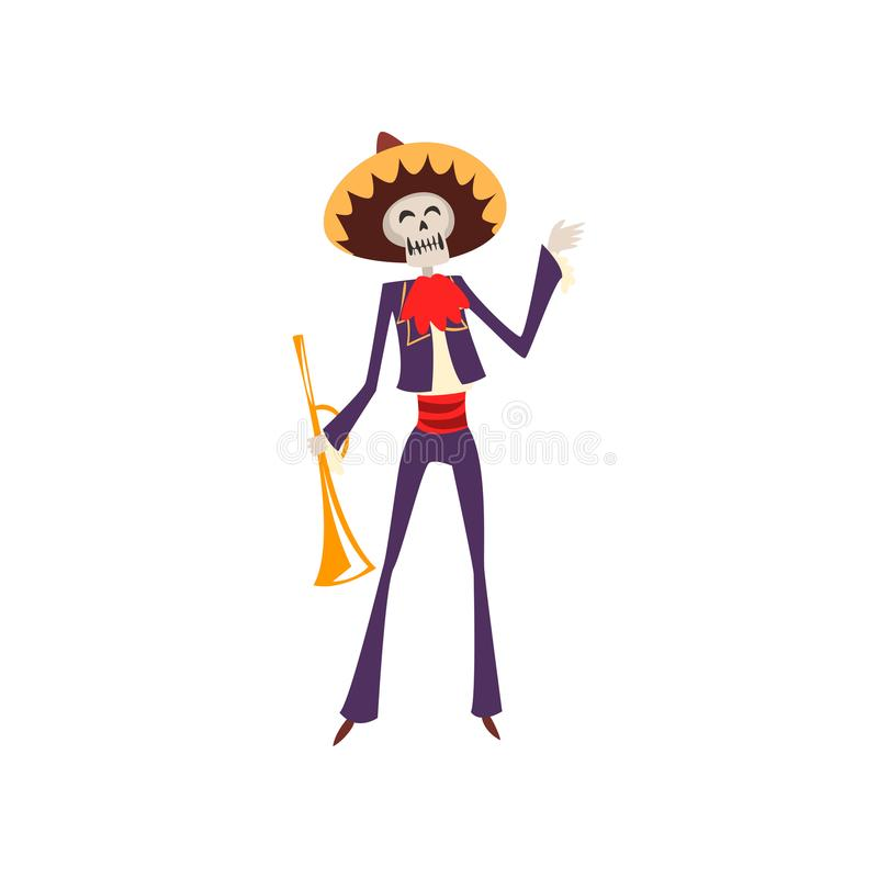 Skeleton in Mexican traditional costume and hat with trumpet, Dia de Muertos, Day of the Dead vector Illustration on a. Skeleton in Mexican traditional costume royalty free illustration