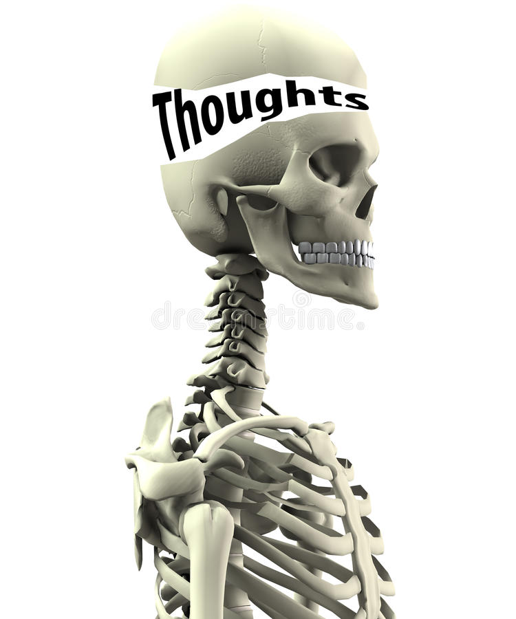 Skeleton With Open Thoughts Royalty Free Stock Images