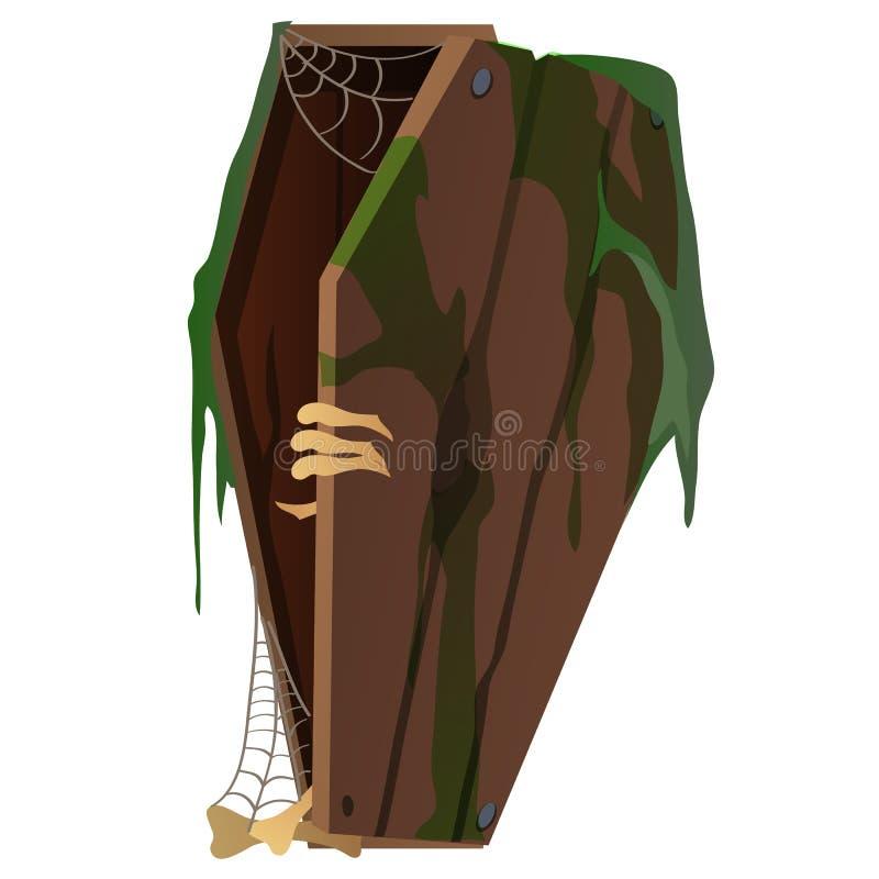 Skeleton opens the coffin. Vector illustration stock illustration