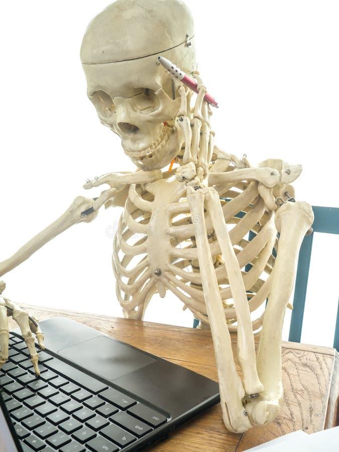 Skeleton Paying Bills stock image