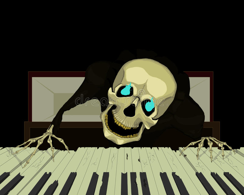 Skeleton Pianist stockfotografie