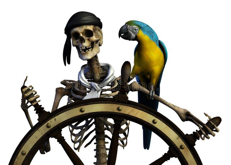 Skeleton Pirat - mit Ausschnittspfad vektor abbildung