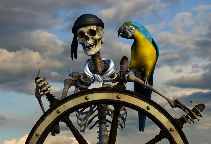 Skeleton Pirate. 3D render of a skeleton pirate. The background is from one of my photographs. This pirate has been at sea too long, he needs a good meal