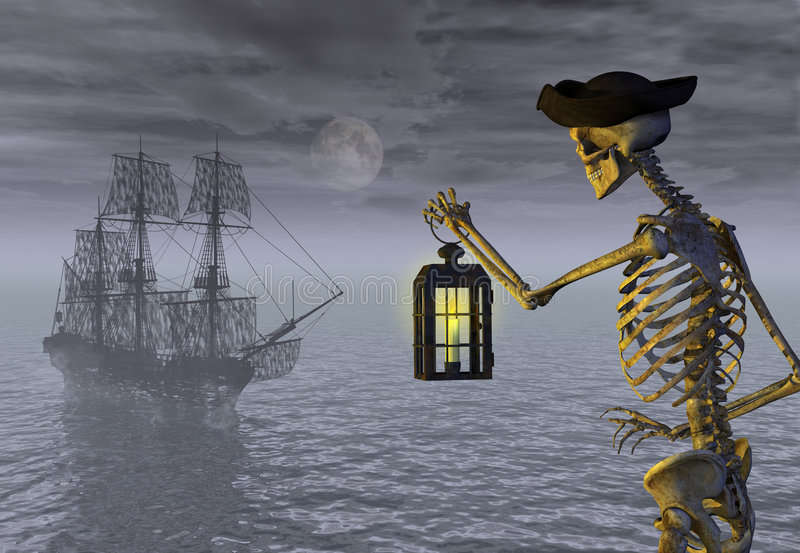 Skeleton Pirate and Ghost Ship. A skeleton pirate awaits the return of his ghost ship - 3D render