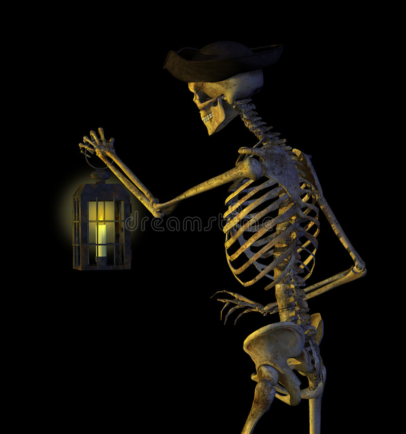 Skeleton Pirate with Lantern vector illustration
