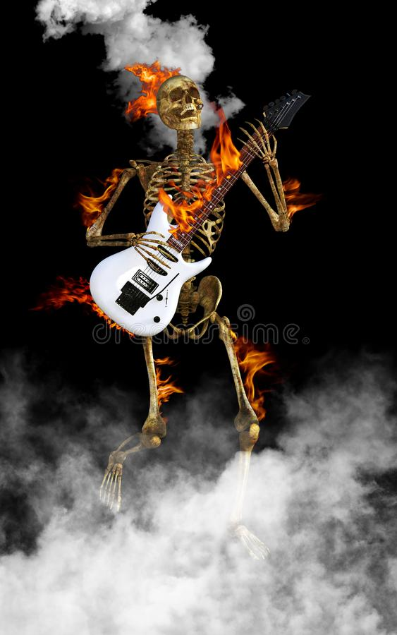 Skeleton Playing Electric Guitar Rock and Roll royalty free stock photography