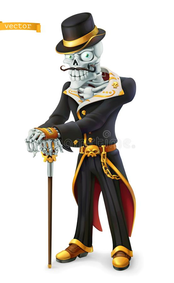 Skeleton in retro costume. Halloween, Day of the Dead holidays. Cartoon character. 3d vector icon royalty free illustration