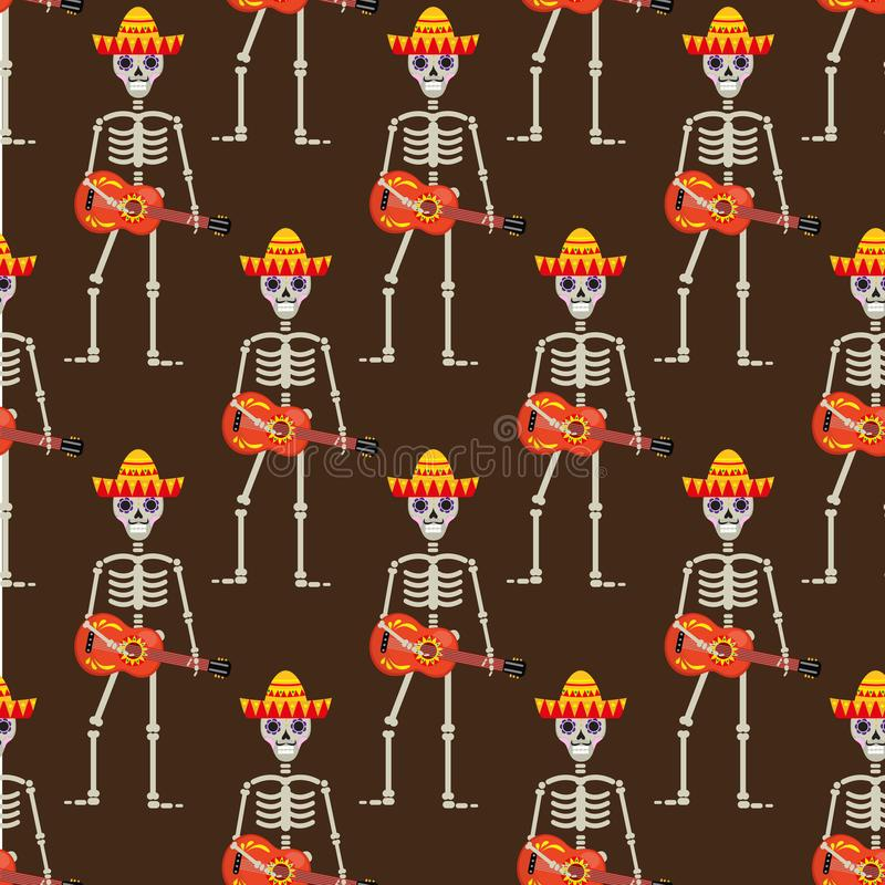 Skeleton in sambrero guitar seamless pattern. Skull Mexican repeating texture. Day of the Dead or the Halloween Endless royalty free illustration