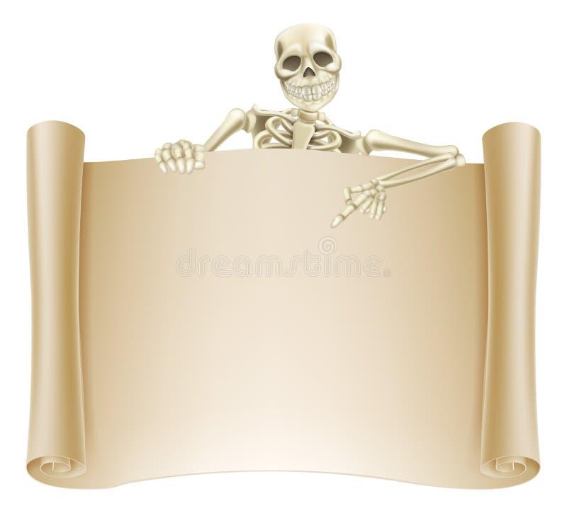 Skeleton Scroll Sign vector illustration