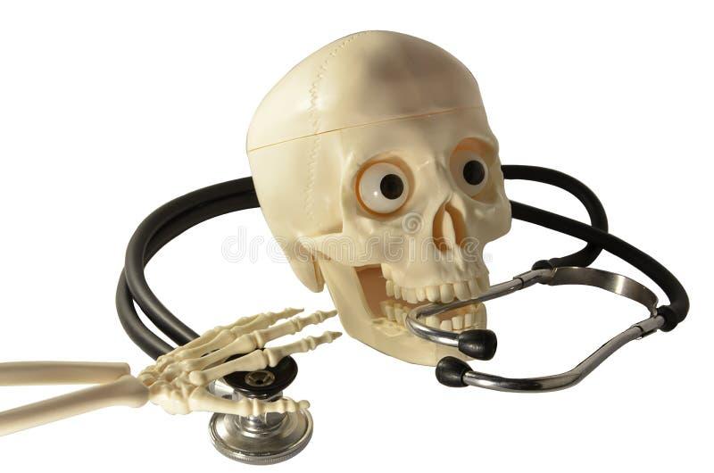 Skeleton skull arm bones stethoscope human. Skeleton skull arm bones stethoscope stock photos