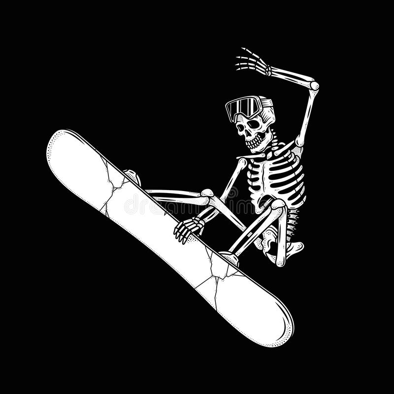 SKELETON SNOWBOARDER DOES THE TRICK royalty free illustration