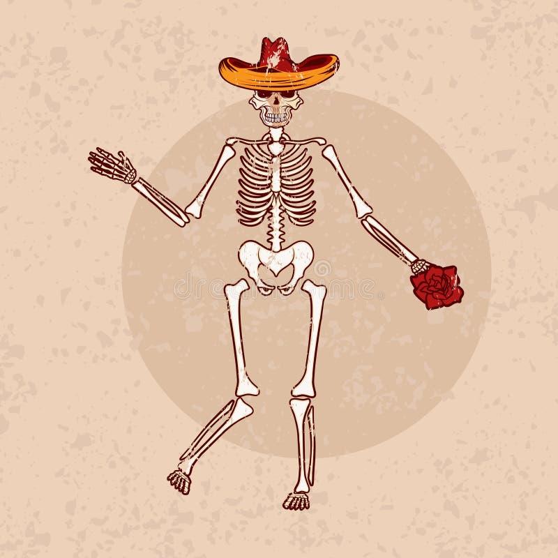 skeleton in sombrero with flower grunge vector illustrat vector illustration