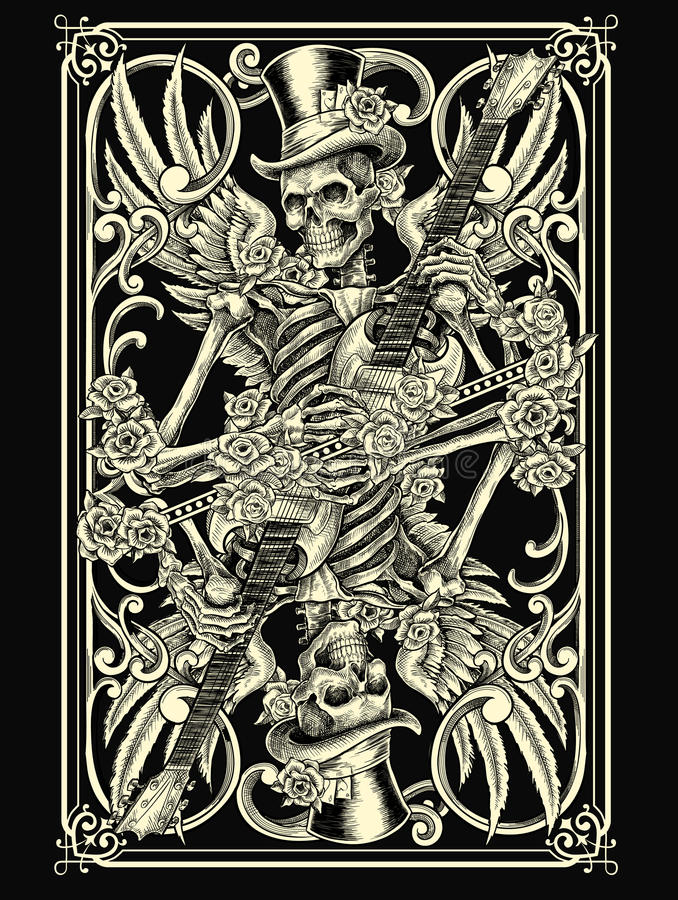 Skeleton Spielkarte vektor abbildung