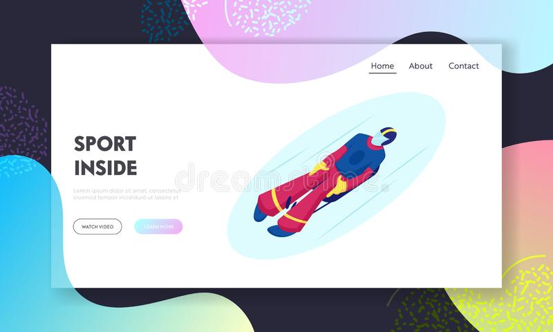 Skeleton Sport Website Landing Page. Athlete Lying on Sleigh Face Up Descend on Ice Track Sportsman Riding Sled. Take Part in Olympic Game Winter Sports Web vector illustration