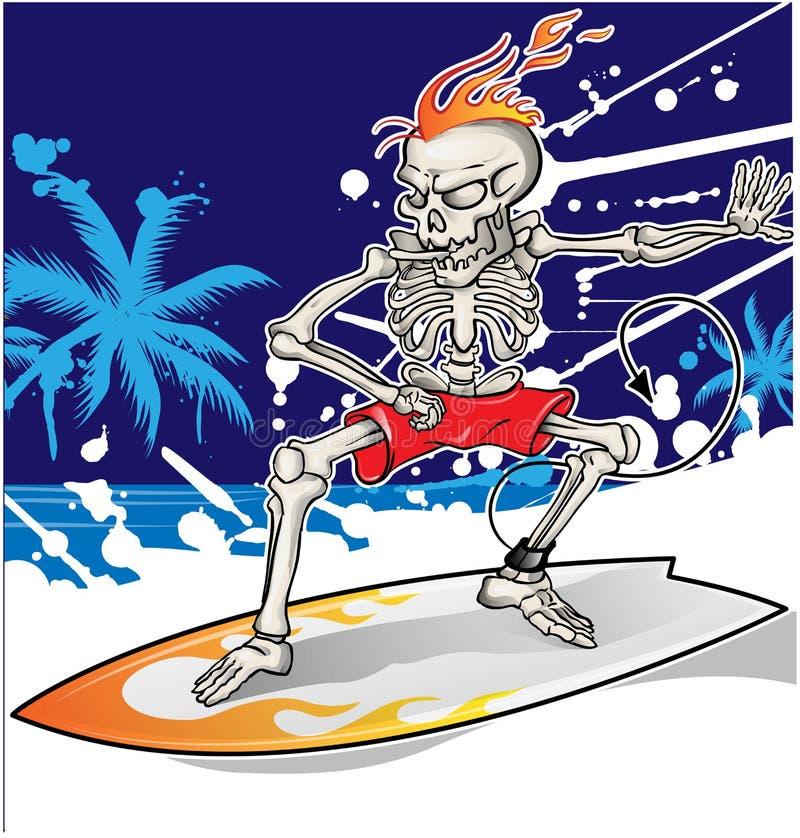 Free Skeleton Surfer On Sea Background Royalty Free Stock Images - 65765729
