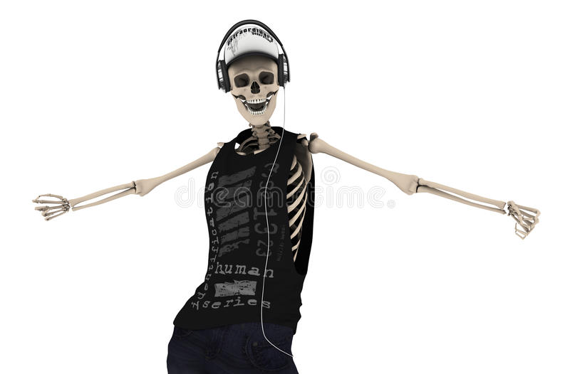 Skeleton Tanz Hip Hops mit Kopfhörer Haltung mit Beschneidungspfad lizenzfreie abbildung