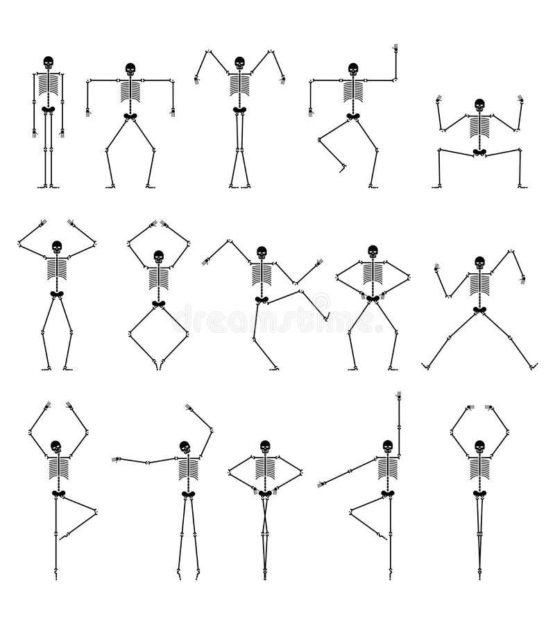Skeleton Tanzsatz Schädel- und Knochentänze Verschiedene Haltungen Vecto stock abbildung