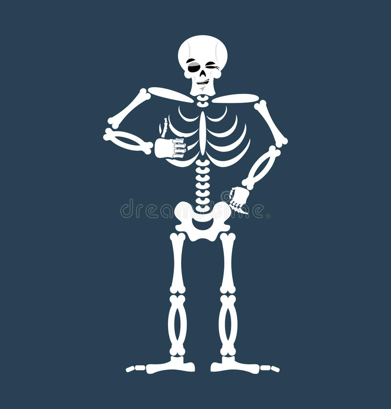 Skeleton Thumbs Up Emoji. Skull Winks Emotion Isolated