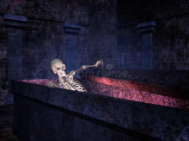 Skeleton in a tomb. Skeleton crawling out from a tomb royalty free illustration
